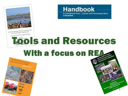 1 Tools and Resources With a focus on REA. 2 In this session, we will… Identify the key tools and resources regarding environmental activities Describe.