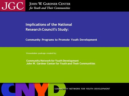 NRC Implications of the National Research Council's Study: Community Programs to Promote Youth Development Presentation package created by: Community Network.