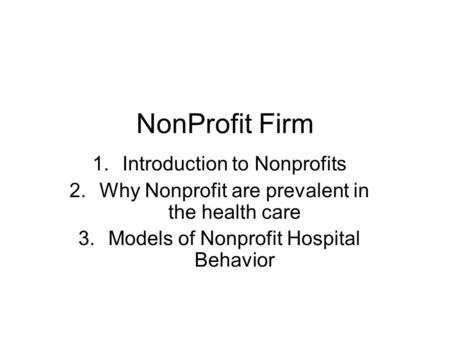 NonProfit Firm Introduction to Nonprofits