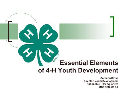 Essential Elements of 4-H Youth Development Cathann Kress Director, Youth Development National 4-H Headquarters CSREES, USDA.