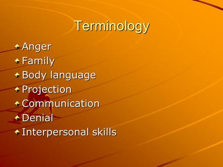 Terminology AngerFamily Body language ProjectionCommunicationDenial Interpersonal skills.