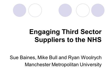 Engaging Third Sector Suppliers to the NHS Sue Baines, Mike Bull and Ryan Woolrych Manchester Metropolitan University.