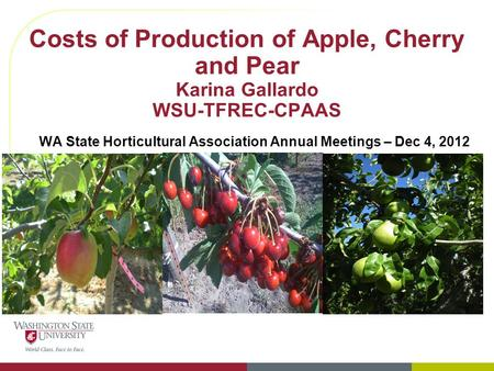 Costs of Production of Apple, Cherry and Pear Karina Gallardo WSU-TFREC-CPAAS WA State Horticultural Association Annual Meetings – Dec 4, 2012.