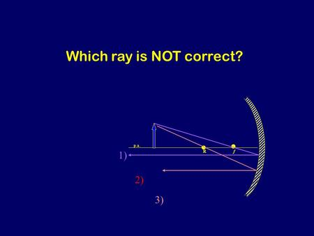 Rf 1) 2) 3) p.a. Which ray is NOT correct? R f 1) 3) p.a. Ray through center should reflect back on self. Which ray is NOT correct?