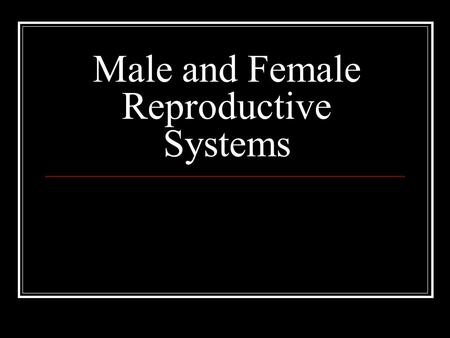 Male and Female Reproductive Systems. Male Reproductive System It includes both internal and external organs Two main functions: Production and storage.
