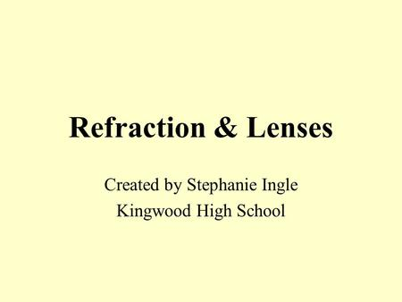 Refraction & Lenses Created by Stephanie Ingle Kingwood High School.