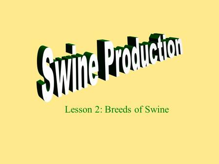 Lesson 2: Breeds of Swine. Breeds of Hogs Berkshire Chester White Duroc Hampshire Landrace Pietrain Poland China Spotted Yorkshire.