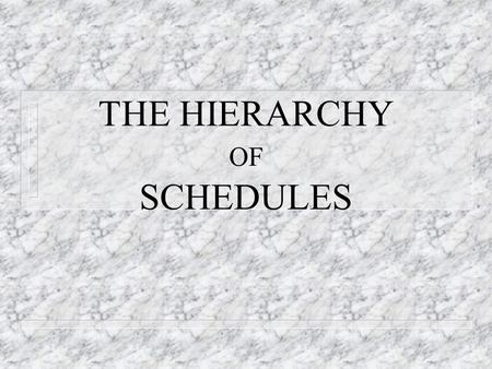 THE HIERARCHY OF SCHEDULES. DR. Nabil Dmaidi 1. Materials Need to determine – Quantities takeoff – Availability and probable delivery time – Type of materials.