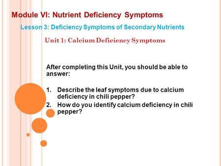 Module VI: Nutrient Deficiency Symptoms Lesson 3: Deficiency Symptoms of Secondary Nutrients Unit 1: Calcium Deficiency Symptoms After completing this.