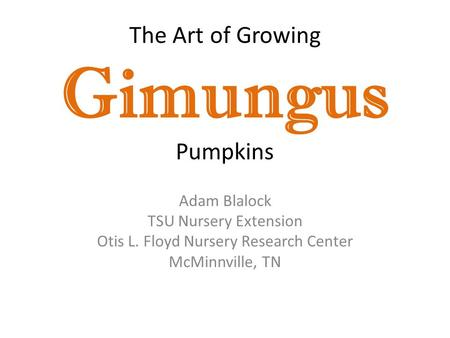 The Art of Growing Gimungus Pumpkins Adam Blalock TSU Nursery Extension Otis L. Floyd Nursery Research Center McMinnville, TN.