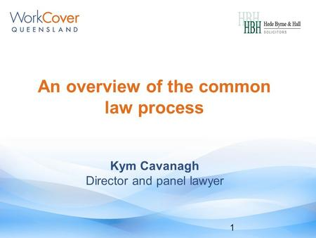An overview of the common law process 1 Kym Cavanagh Director and panel lawyer.