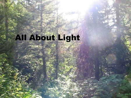 All About Light. Light is a part of the electromagnetic spectrum.