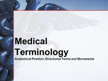 Medical Terminology Anatomical Position, Directional Terms and Movements.