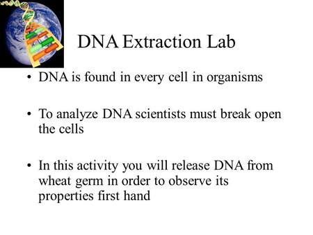 DNA Extraction Lab DNA is found in every cell in organisms