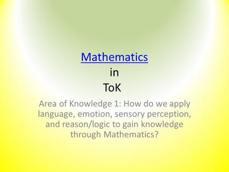 mathematics tok essay They will also support you as you address knowledge questions within your tok essay and tok presentation consideration points  tok: mathematics and the knower.