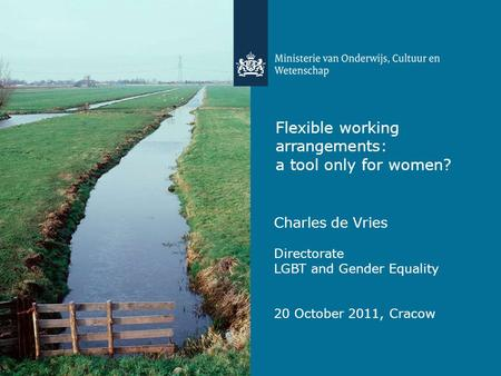 Flexible working arrangements: a tool only for women? Charles de Vries Directorate LGBT and Gender Equality 20 October 2011, Cracow.