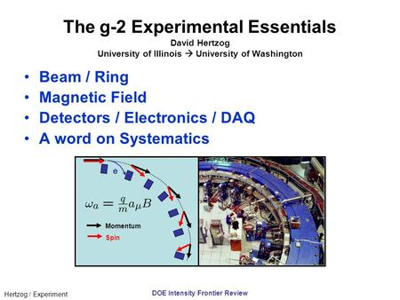 Hertzog / Experiment DOE Intensity Frontier Review The g-2 Experimental Essentials David Hertzog University of Illinois  University of Washington Beam.