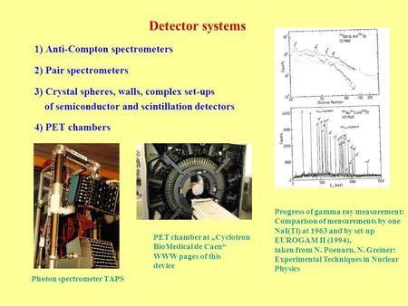 Detector systems 1) Anti-Compton spectrometers 2) Pair spectrometers 3) Crystal spheres, walls, complex set-ups of semiconductor and scintillation detectors.