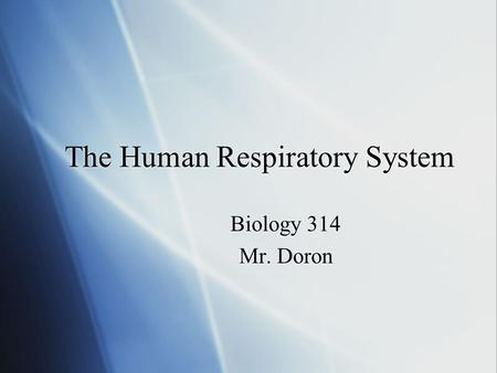 The Human Respiratory System Biology 314 Mr. Doron Biology 314 Mr. Doron.