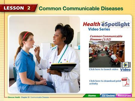 Common Communicable Diseases (1:52) Click here to launch video Click here to download print activity.