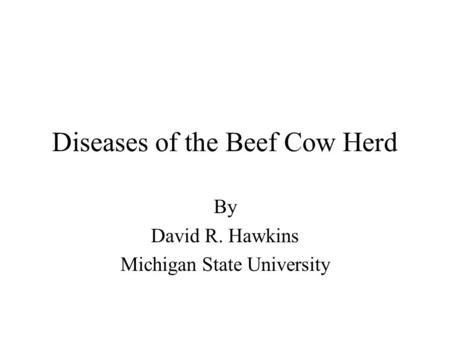 Diseases of the Beef Cow Herd By David R. Hawkins Michigan State University.