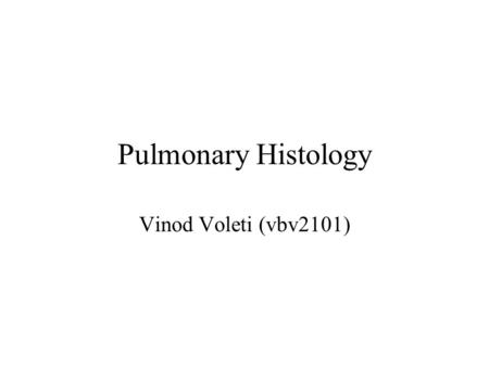 Pulmonary Histology Vinod Voleti (vbv2101). Zones 1)Conducting -Warm -Filter -Moisten 2) Respiratory - Gas Exchange.