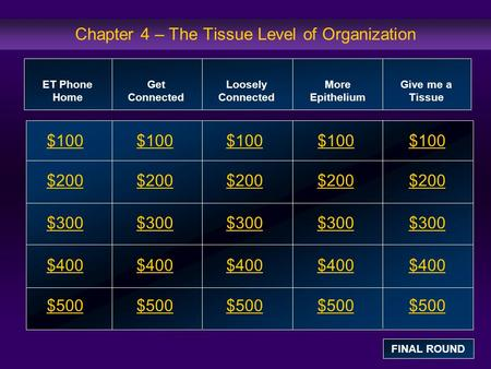 Chapter 4 – The Tissue Level of Organization $100 $200 $300 $400 $500 $100$100$100 $200 $300 $400 $500 ET Phone Home Get Connected Loosely Connected More.