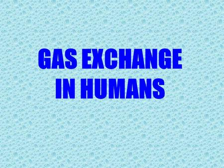 GAS EXCHANGE IN HUMANS.