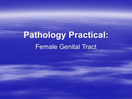 Pathology Practical: Female Genital Tract.