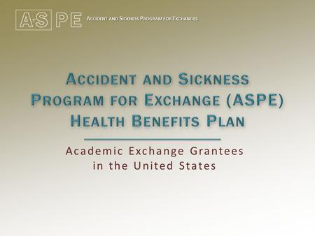 A CCIDENT AND S ICKNESS P ROGRAM FOR E XCHANGES Academic Exchange Grantees in the United States.