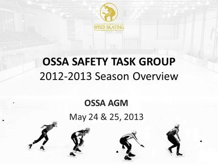 OSSA SAFETY TASK GROUP 2012-2013 Season Overview OSSA AGM May 24 & 25, 2013.
