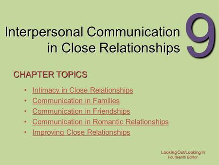 Interpersonal Communication in Close Relationships