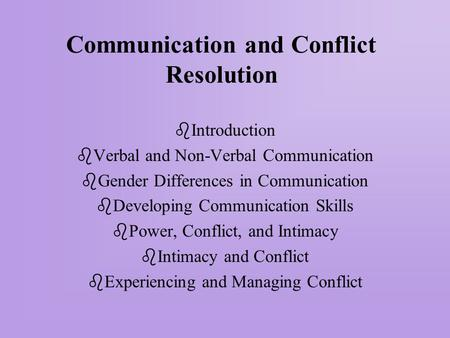 Communication and Conflict Resolution