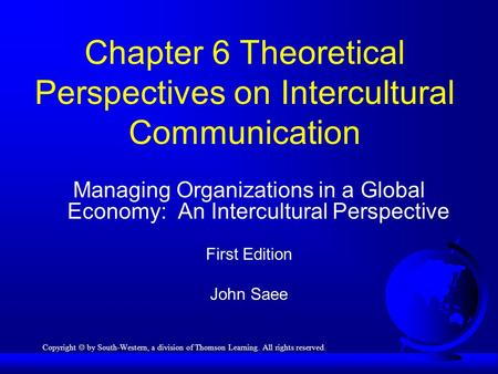 Chapter 6 Theoretical Perspectives on Intercultural Communication