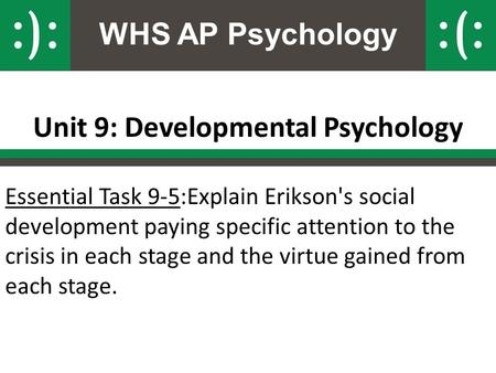 WHS AP Psychology Unit 9: Developmental Psychology Essential Task 9-5:Explain Erikson's social development paying specific attention to the crisis in each.