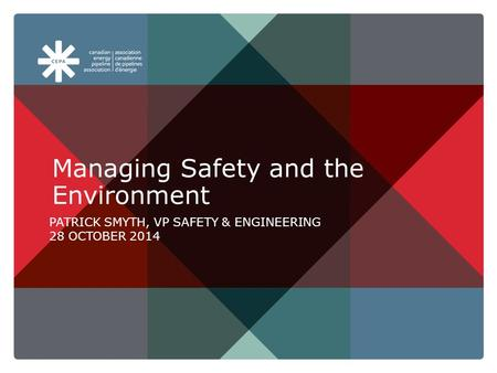 Aboutpipelines.com Managing Safety and the Environment PATRICK SMYTH, VP SAFETY & ENGINEERING 28 OCTOBER 2014.