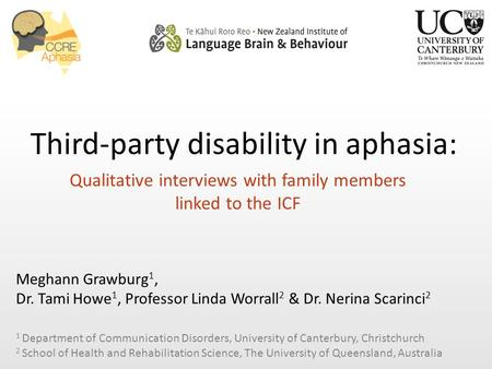 Third-party disability in aphasia: Qualitative interviews with family members linked to the ICF Meghann Grawburg 1, Dr. Tami Howe 1, Professor Linda Worrall.