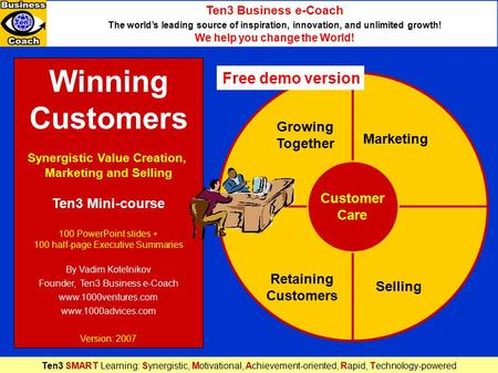 Winning Customers Synergistic Value Creation, Marketing and Selling Ten3 Mini-course 100 PowerPoint slides + 100 half-page Executive Summaries By Vadim.