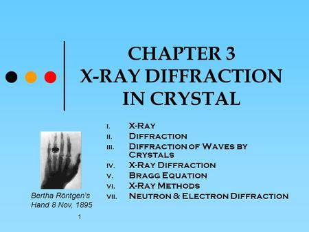 1 CHAPTER 3 X-RAY DIFFRACTION IN CRYSTAL I. X-Ray II. Diffraction III. Diffraction of Waves by Crystals IV. X-Ray Diffraction V. Bragg Equation VI. X-Ray.