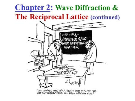 Chapter 2: Wave Diffraction & The Reciprocal Lattice (continued)