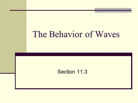 The Behavior of Waves Section 11.3. Reflection All types of waves can be reflected Light, sound, ocean, etc. Used by bats and dolphins Reflection- when.