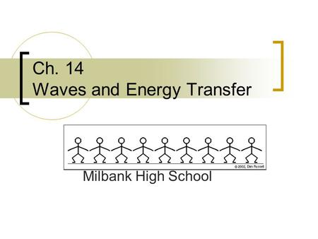 Ch. 14 Waves and Energy Transfer Milbank High School.