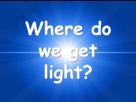 Where do we get light?. A luminous object is one that produces light. An illuminated object is one that reflects light. Luminous Objects Illuminated Objects.