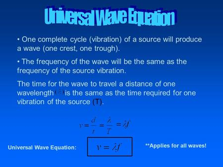 One complete cycle (vibration) of a source will produce a wave (one crest, one trough). The frequency of the wave will be the same as the frequency of.