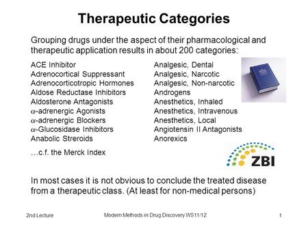 2nd Lecture Modern Methods in Drug Discovery WS11/12 1 Therapeutic Categories Grouping drugs under the aspect of their pharmacological and therapeutic.
