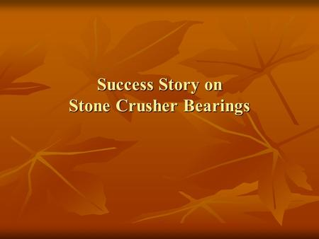 Success Story on Stone Crusher Bearings. View of a Stone Crusher Machine.