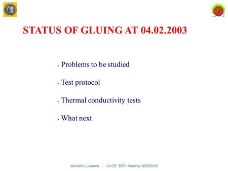 Marcello Lunardon - ALICE SPD Meeting 04/02/2003 Problems to be studied Test protocol Thermal conductivity tests What next STATUS OF GLUING AT 04.02.2003.