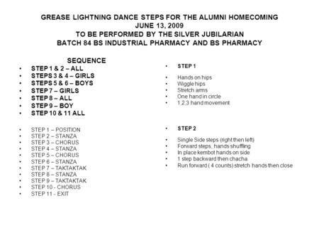 GREASE LIGHTNING DANCE STEPS FOR THE ALUMNI HOMECOMING JUNE 13, 2009 TO BE PERFORMED BY THE SILVER JUBILARIAN BATCH 84 BS INDUSTRIAL PHARMACY AND BS PHARMACY.