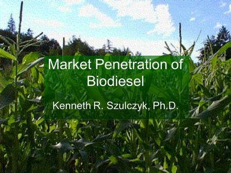 Market Penetration of Biodiesel Kenneth R. Szulczyk, Ph.D.