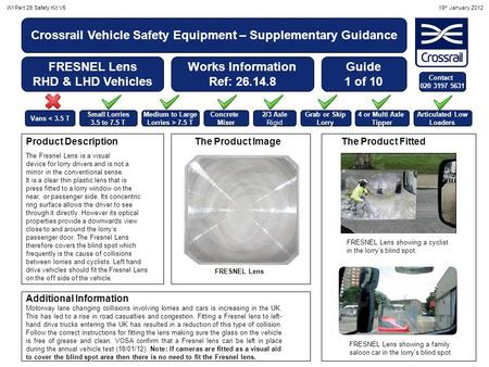 WI Part 26 Safety Kit V519 th January 2012 Crossrail Vehicle Safety Equipment – Supplementary Guidance FRESNEL Lens RHD & LHD Vehicles Works Information.